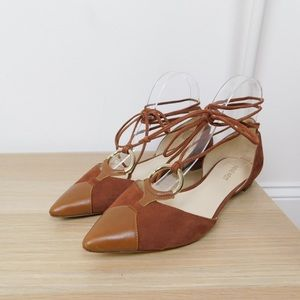 Nine West Brown Tied Ankle Leather Flats